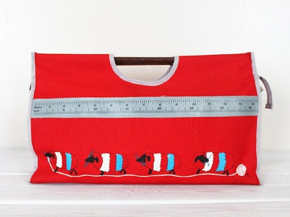 Vintage Knitting Wool Yarn Bag Project Storage Wolly Sheep Red Ruler Craft Red Blue White Grey Crochet