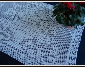 My Flower Vase Runneth Over filet crocheted tablecloth - READY TO SHIP