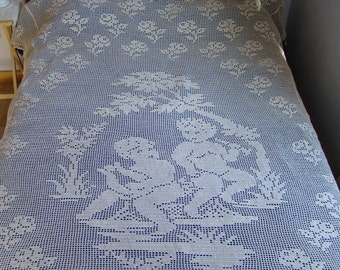 """Crochet queen-size bedspread in ecru cotton with angels, roses and scallop edging, 86"""" x 94"""" - READY TO SHIP"""