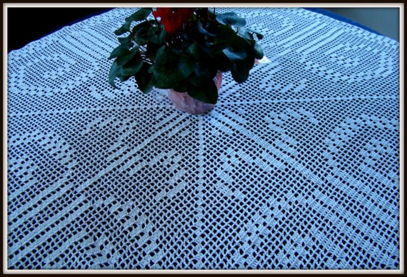 Four Square filet crocheted tablecloth