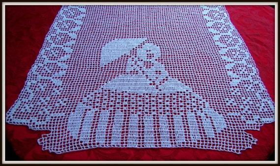 Crinoline Lady filet crochet runner