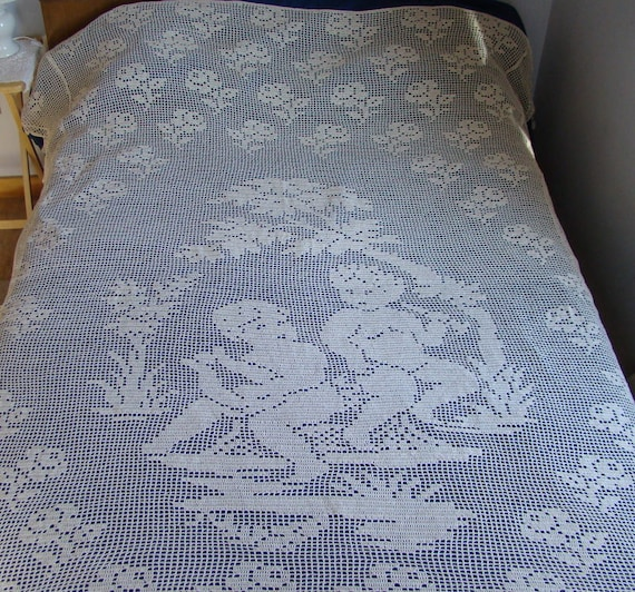 "Crochet queen-size bedspread in ecru cotton with angels, roses and scallop edging, 86"" x 94"" - READY TO SHIP"