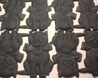 6 Halloween Die Cut Scraps Black Cat Paper Craft Supply