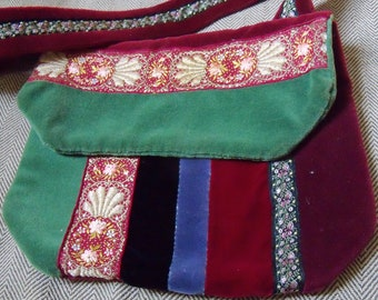 Velvet Quilted Evening Bag with Ribbon Trims, 1970s