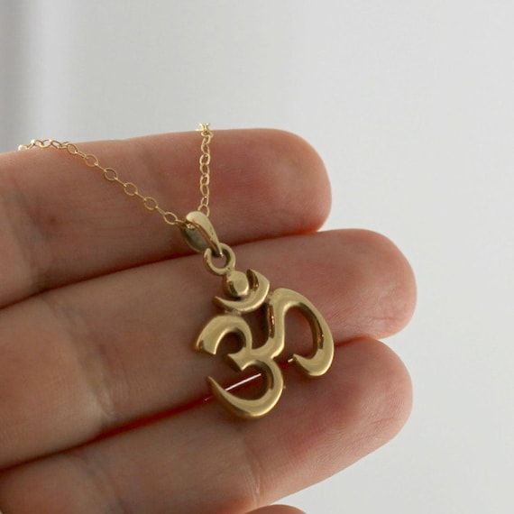 Gold om necklace buddhist jewelry good by anatoliantaledesign for Zen culture jewelry reviews