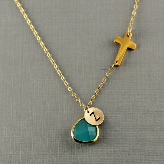 Personalized 18th Birthday Necklace Initial Custom: Items Similar To Personalized Sideways Cross Necklace