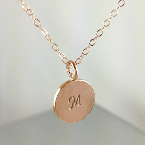 Rose gold initial necklace personalized by anatoliantaledesign for Rose gold personalized jewelry