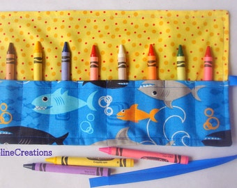 Crayon Roll Up Crayon Holder Novelty Sharks On Blue- Holds 8 Crayons