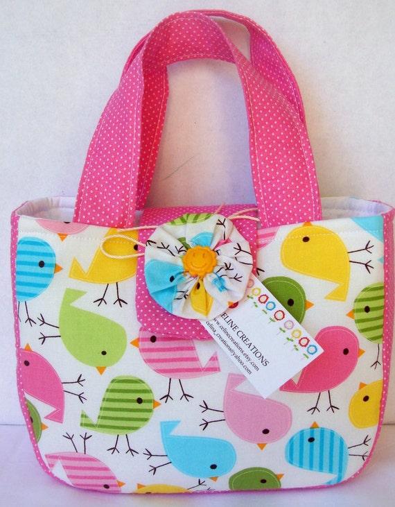 Mini Tote Bag For Her- Spring Birdies