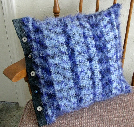 Upcycled Reclaimed Denim & Buttons Crocheted Blue Throw Pillow Cover 16X16 Washable