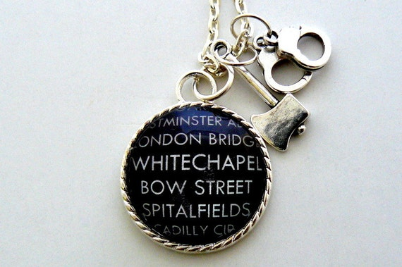 Gothic Necklace London Necklace Jack the Ripper Victorian Necklace Steampunk Gothic Jewelry by pennyfarthingdesigns on Etsy