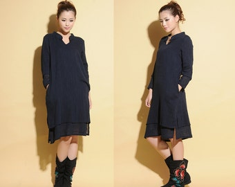 Chinese Style Two Layed Dress with Handmade button/ V Neck / 26 Colors/ RAMIES