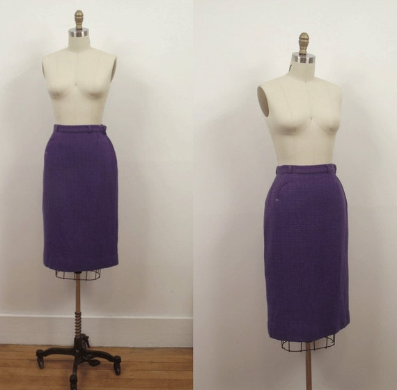 1950s Wool Pencil Skirt / 50s Tweed Skirt