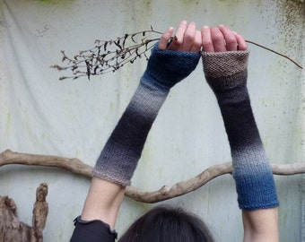 Storm Gauntlets, luxe, soft, hand knitted fingerless gloves with silk and wool, READY TO SHIP