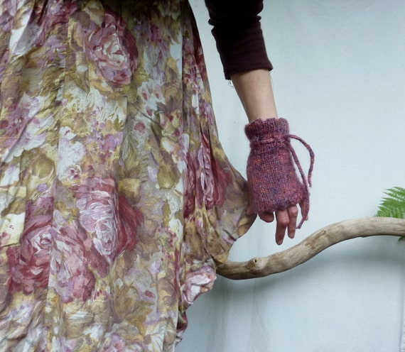Foxgloves Cuffs, natural hand knitted cuffs in wool and mohair, READY TO SHIP