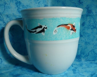 Koi Mug, one of a kind, hand painted