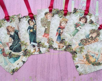 Vintage Christmas Children Gift Tags set of 8 No.194