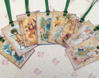 Victorian Christmas Gift Tags set of 8  No.417
