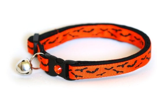 Cat Collar - Bats at Twilight on Orange - Large(standard) Size Collar