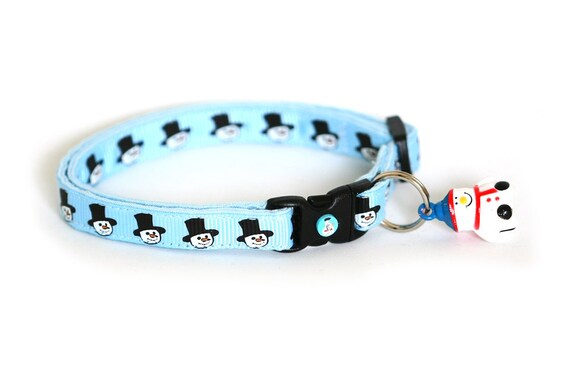 Cat Collar - Snowmen on Frosty Blue - Standard (Large) Cat Collar
