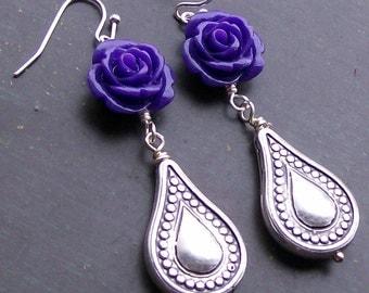 Rockabilly Earrings Purple Rose Teardrop earrings