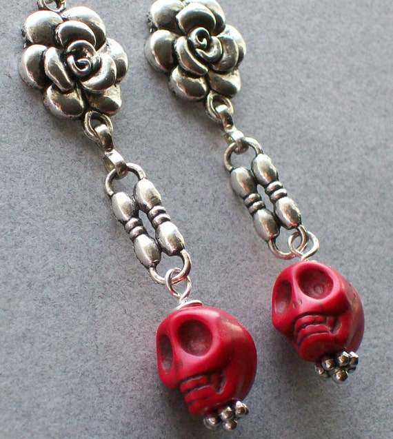 Creepy Jewelry Silver Rose and Red Sugar Skull Earrings