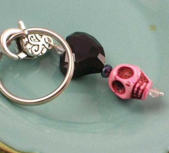 Black Heart and Pink Sugar Skull Pendant Keychain