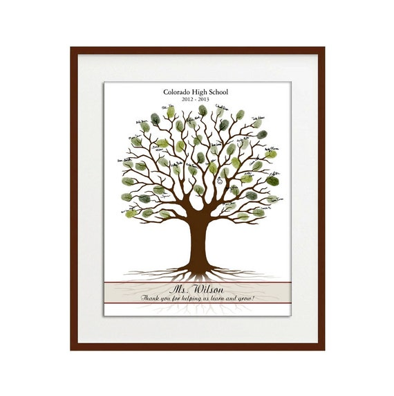 Teacher Thumbprint Tree Printable, Teacher Appreciation Gift, Printable JPEG, Personalized Thumbprint Gift For the Teacher