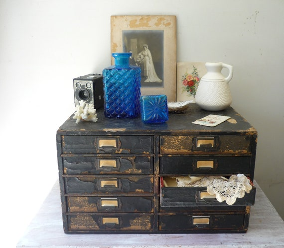 RESERVED for REBEKAH - Vintage Industrial Black Wooden Filing Drawers