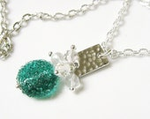 Aqua Green Sugar Bead Necklace- Silver, Crystal, Glass