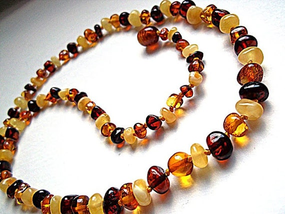 Multicolor  Baltic  Amber  Necklace   18.5  inches.