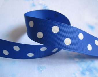 5 yards 7/8 inch Polka Dot Grosgrain Ribbon Electric Blue