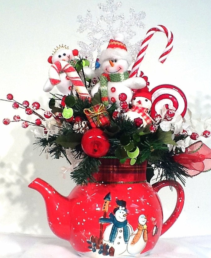 Reserved for michelle snowman family teapot centerpiece