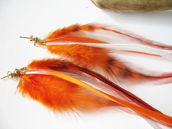 Long earrings studs with orange and white feathers casual gipsy fashion autumn