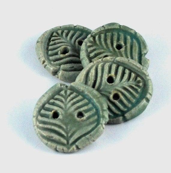 Green Ceramic Buttons: set of four, matt green, fern leaf imprint