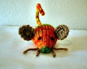 Hand Knit Meowy Wowie Catnip Autumn-1 Doozie Mouse with Whiskers -  Variegated Acrylic Yarn