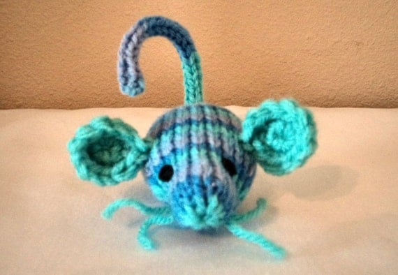 Hand Knit Meowy Wowie Catnip Doozie Mouse with Whiskers - Monet Variegated Acrylic Yarn
