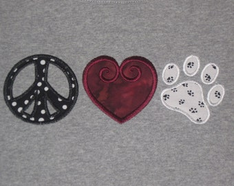 Ready to ship * Girls XL * Peace sign Heart Paw tee...great for showing team spirit for any paw'd mascot
