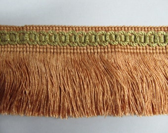 VINTAGE IMPORTED chainette fringe peach with gold header 3 inch