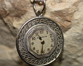 Victorian Inspired Steampunk Necklace with a Watch Dial Face and Vintage Setting Pendant P 40