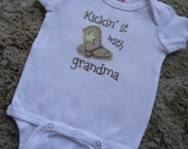 Kickin It With Grandma or Grandpa Baby Onesie