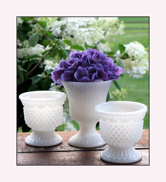 Milk Glass Vase Collection -  Shabby Chic Trio