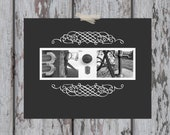 """Custom Wedding Gift / Housewarming / Last Name Letter Art Print - 11 x 14"""" with Black and White Letter Photos"""