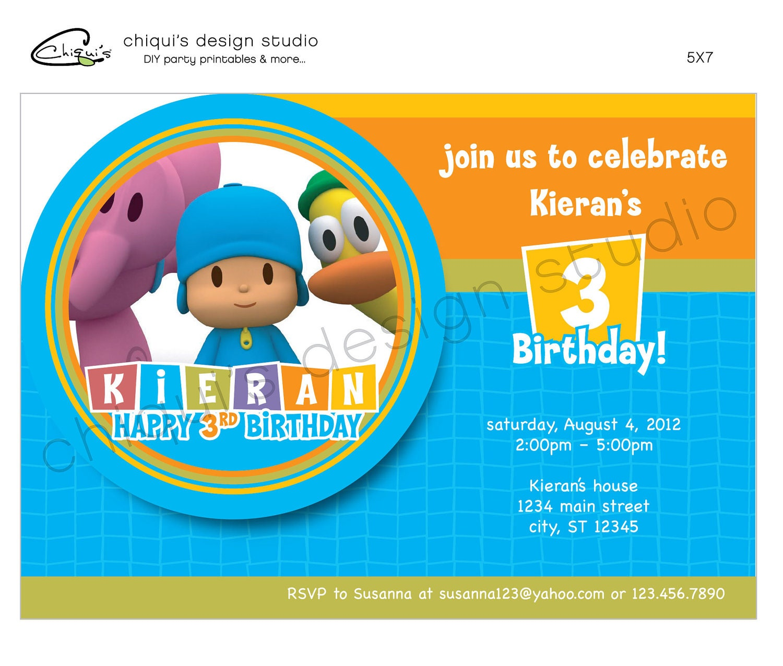 POCOYO 5X7 Printable Invitation Design Chiqui's Design