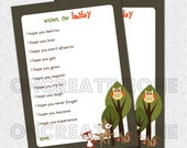 Well Wishes, I hope You, Baby Shower Game, Printable Woodland Animals, Friends, Fox, Deer, Owl, Squirrel, Digital File