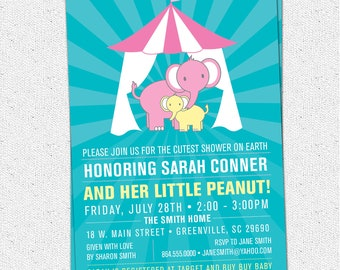 Circus Little Peanut Baby Shower Invitation, Elephants, Printable, Gender Neutral, Cutest Shower on Earth,DIY Digital File
