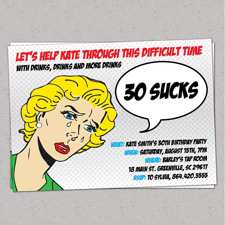 Free Funny Birthday Invitations For Adults: 30 Sucks Birthday Party Invitation Retro Pulp Woman Funny