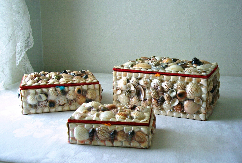 Vintage Shell Box Seashells Jewelry Box By Allthebestvintage