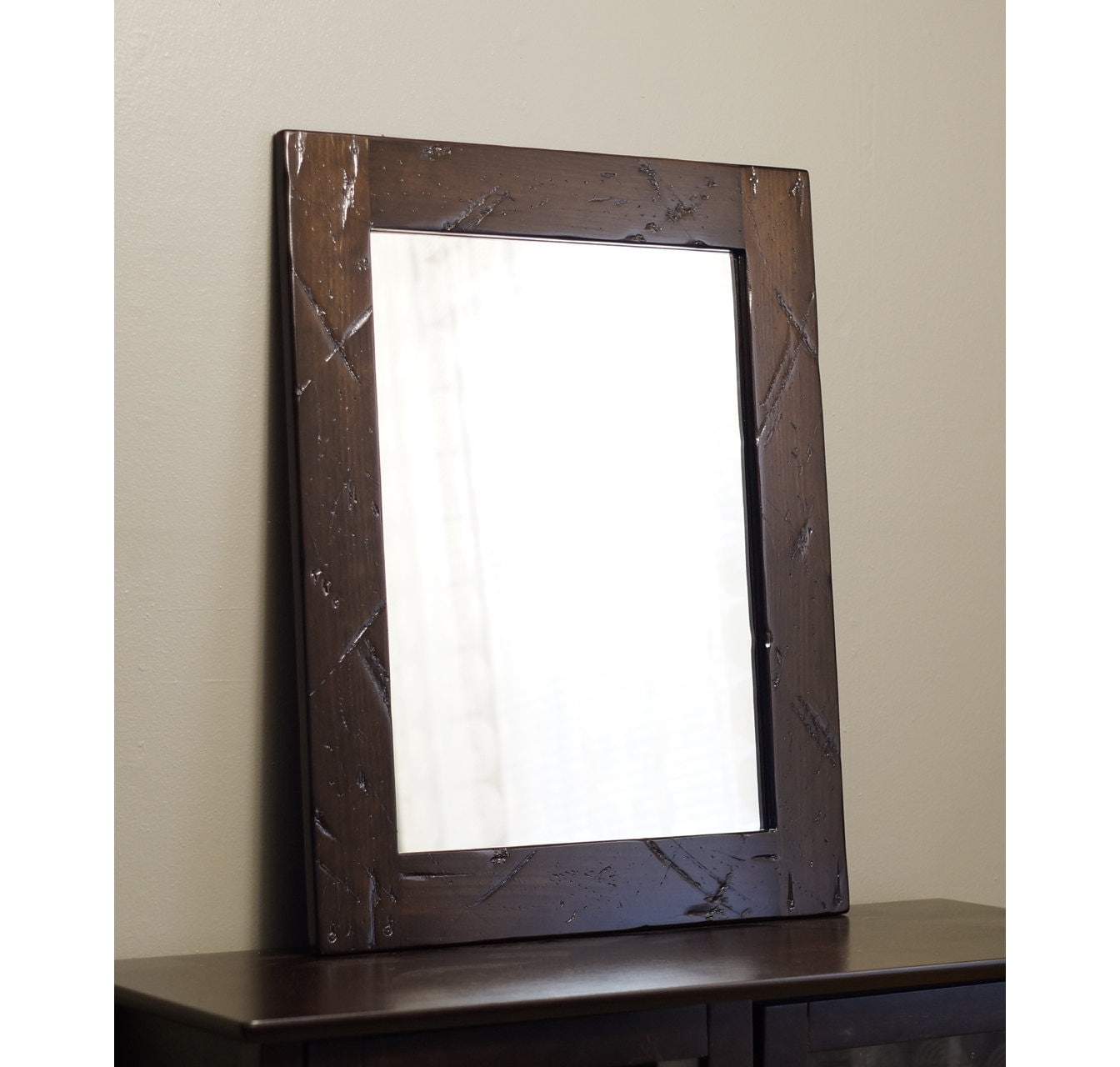 Distressed wood mirror bathroom dark brown rustic by for Rustic mirror