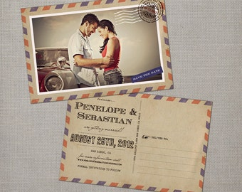 Save the Date Postcards, Airmail, Save the Date, Penelope 1